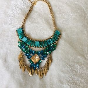 Jewelry - Gold And Blue Statement necklace